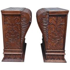 Large and Superb Pair of Late 19th Century Highly Decorative Walnut Pedestals