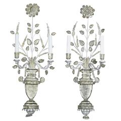 Pair of Maison Bagues Crystal Wall Lights