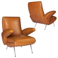 Pair of French Lounge Armchairs, circa 1960