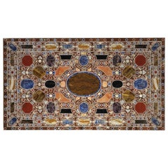 Rare 19th Century Florentine Table, Inlay of Hard Stones and Marble, Italy