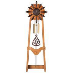 Guillerme et Chambron Floor Oak Clock, France, 1960