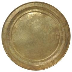 Large Vintage Brass Persian Round Tray