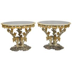 Large Pair of Italian Carved Wood Faux Bois Branch and Grape Centre Side Tables