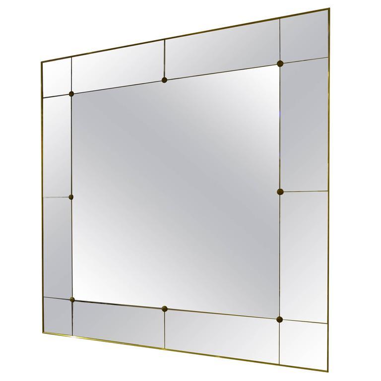 Pescetta Art Deco Style Contemporary Panelled Mirror Brass Frame