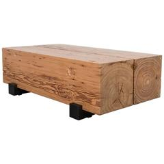 Beam Coffee Table by Uhuru Design, Reclaimed Heart Pine and Blackened Steel