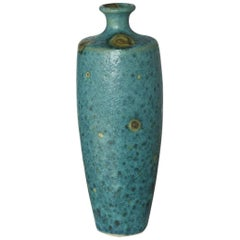 Large Italian Modern Turquoise Blue Ceramic Vase in the Style of Guido Gambone
