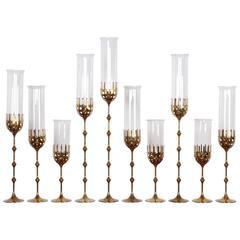 Set of Ten Brass Candlesticks by Bjorn Winblad