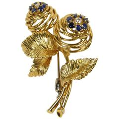 Vintage Tiffany & Co 18-Karat Gold Diamond and Sapphire Floral Form Brooch