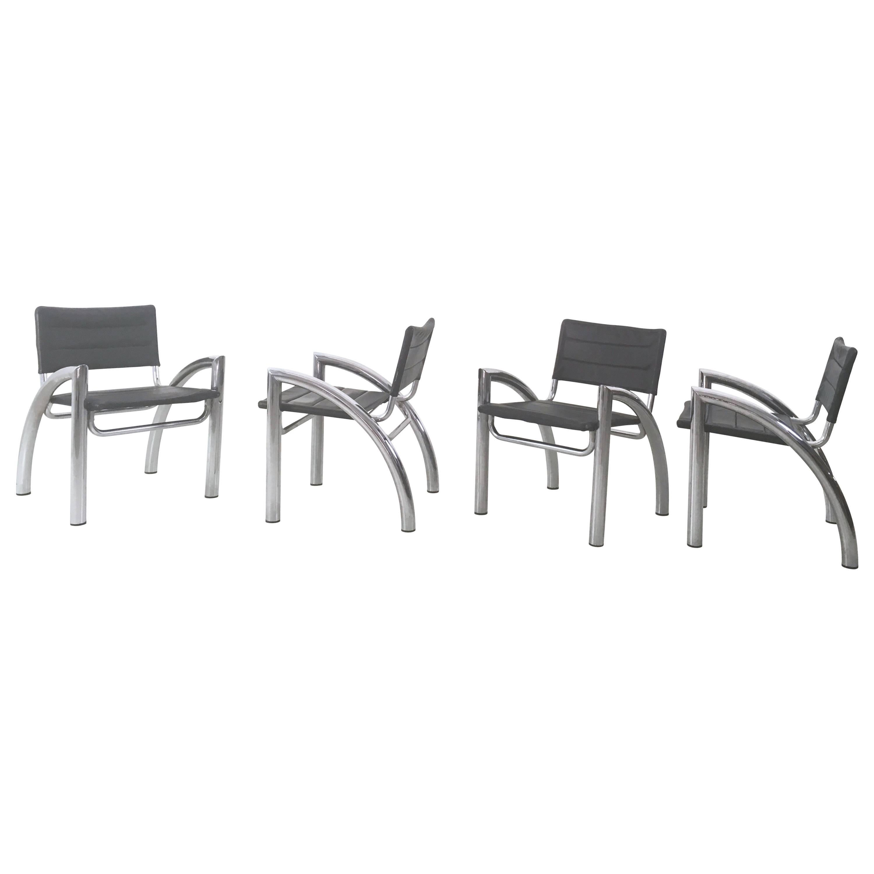 Group of Four Leather and Chromed Metal Chairs, 1970s