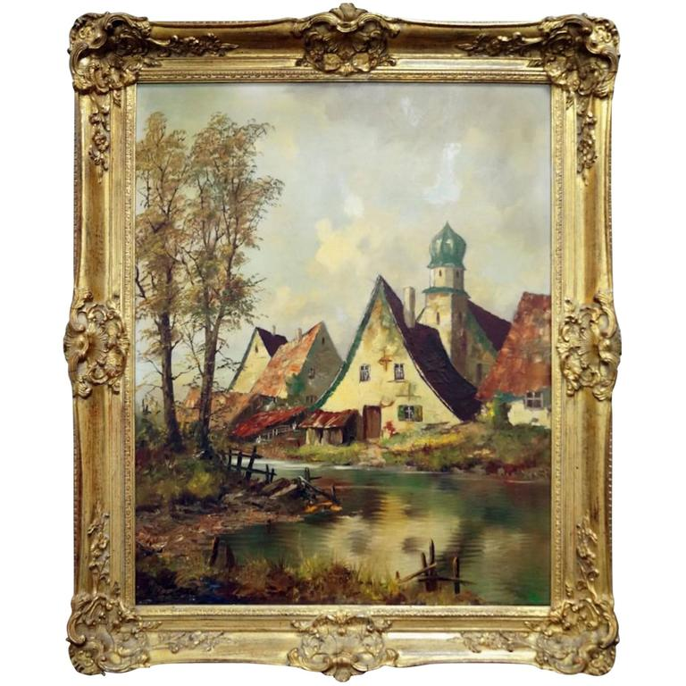 Ernest Jugel Oil on Canvas, Village Scene, Signed, Framed
