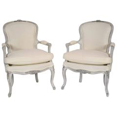 Pair of French Antique Louis XV Armchairs