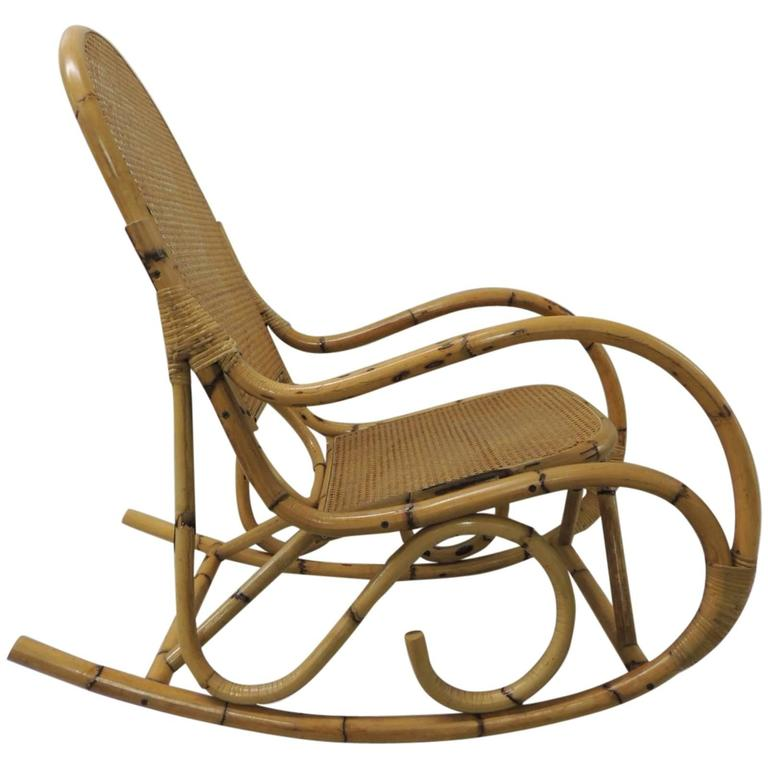 Vintage Bamboo And Wicker Armed Rocking Chair At 1stdibs
