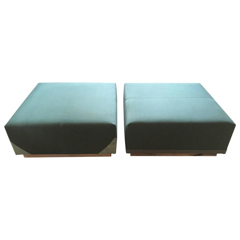 Coffee Table Ottomans Upholstered In Green Canvas On Custom Frame Pair At 1stdibs