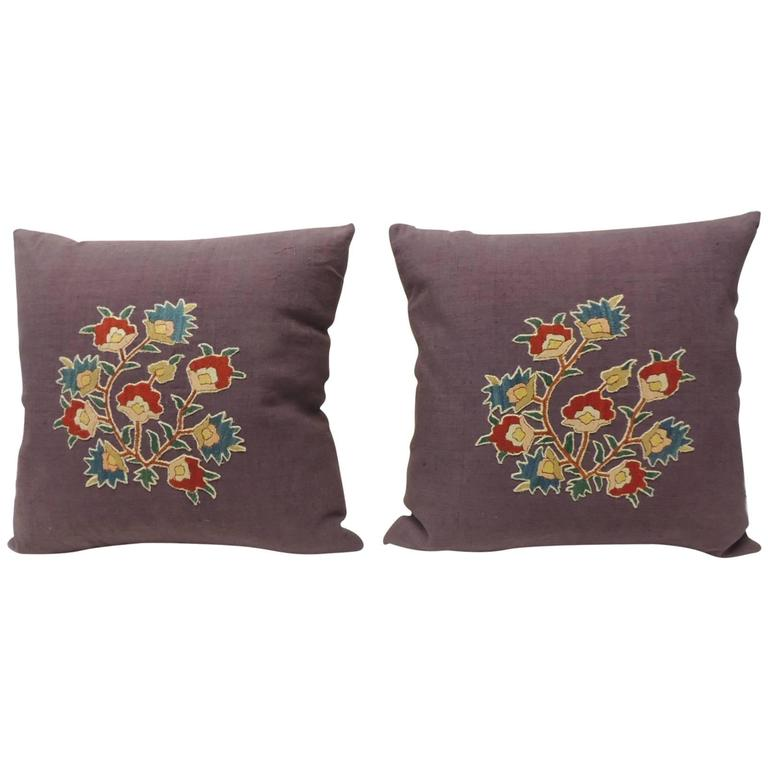 Pair of 19th Century Embroidery Hand Appliqué on Purple Linen Pillows