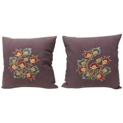 Pair of 19th c. Embroidery Hand Appliqué on Purple Linen Pillows