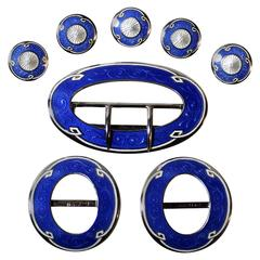 Henry Matthews Sterling Silver and Enamel Belt, Shoe Buckles and Button Set