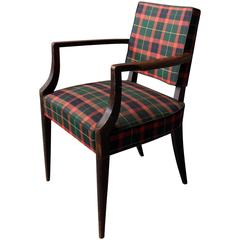 A French Art Deco beech Wood Bridge Armchair with a Tartan Fabric