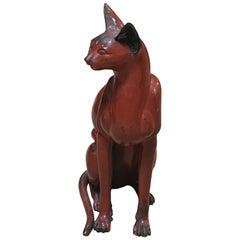 Bronze Red Cat Sculpture in Art Deco