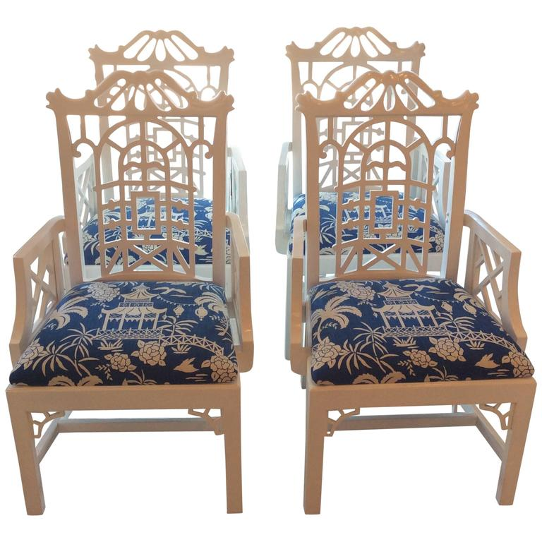 Pagoda Arm Dining Chairs Lacquered American Of