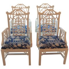 Pagoda Arm Dining Chairs Lacquered American of Martinsville Chinese Chippendale