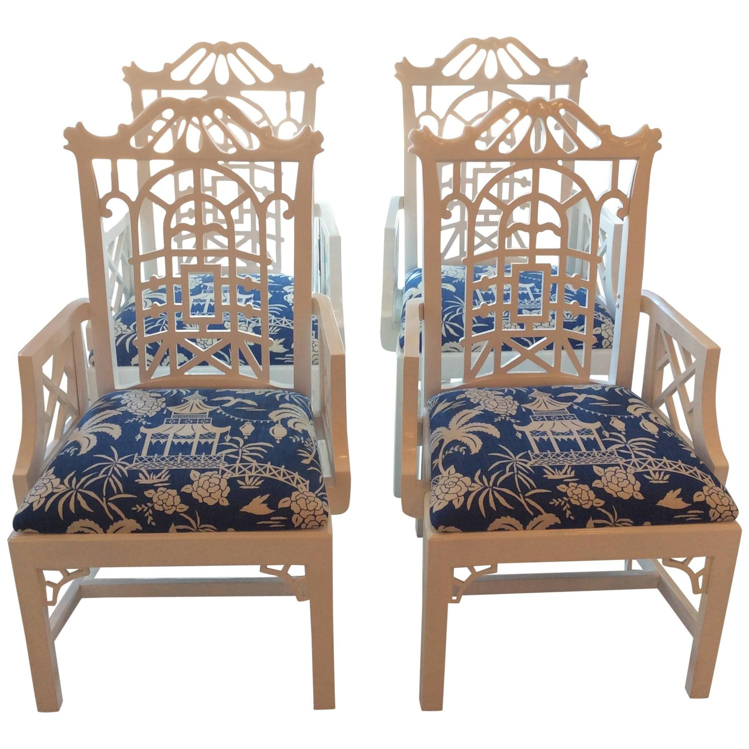 Pagoda Arm Dining Chairs Lacquered American of Martinsville
