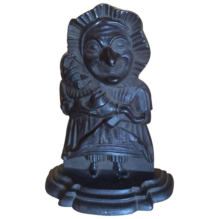 U0027Punch And Judyu0027 Cast Iron Door Stop For Sale