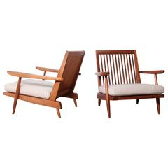 Pair of Spindle Back Lounge Chair by George Nakashima