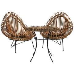 Mid-CenturyJanine Abraham and Dirk Jan Rol Wicker Basketware Lounge Chairs