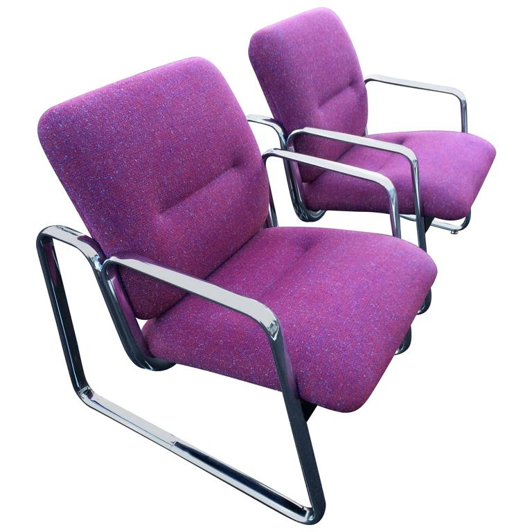 Pair of Chrome Steelcase Chairs in Violet