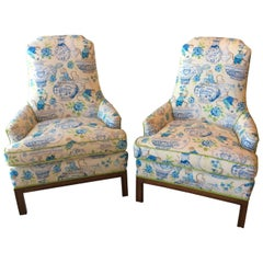 Pair of Mid-Century Modern Monkey Arm chairs Lounge Club Upholstered Chinoiserie