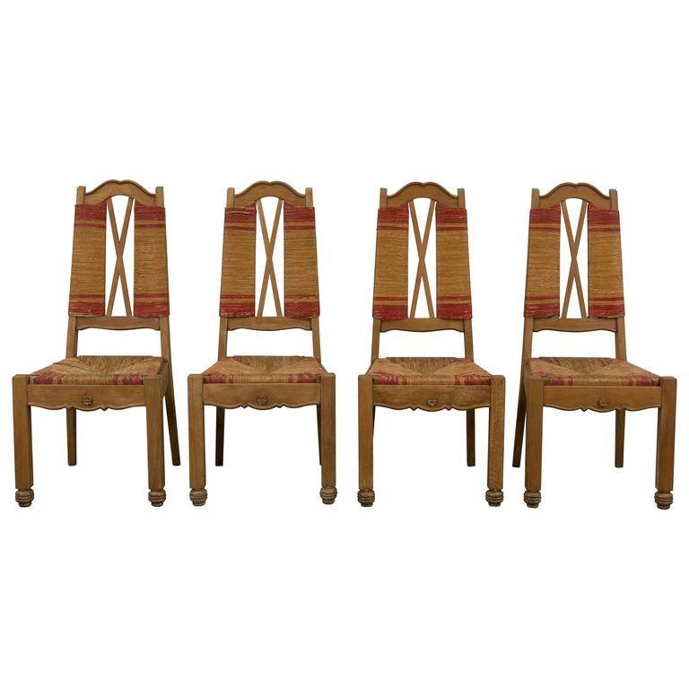 Set of Four Natural and Red Rush Side Chairs For Sale
