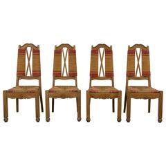 Set of Four Natural and Red Rush Side Chairs