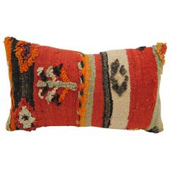 Custom Moroccan Pillow Cut from a Vintage Hand Loomed Wool Berber Rug