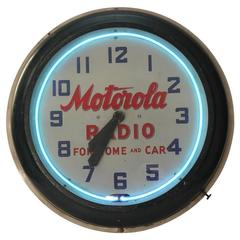 "1930s Neon Clock "" Motorola Radio for Home and Car"""