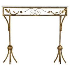 Gilt Iron Wall Hung Console with Marble Top