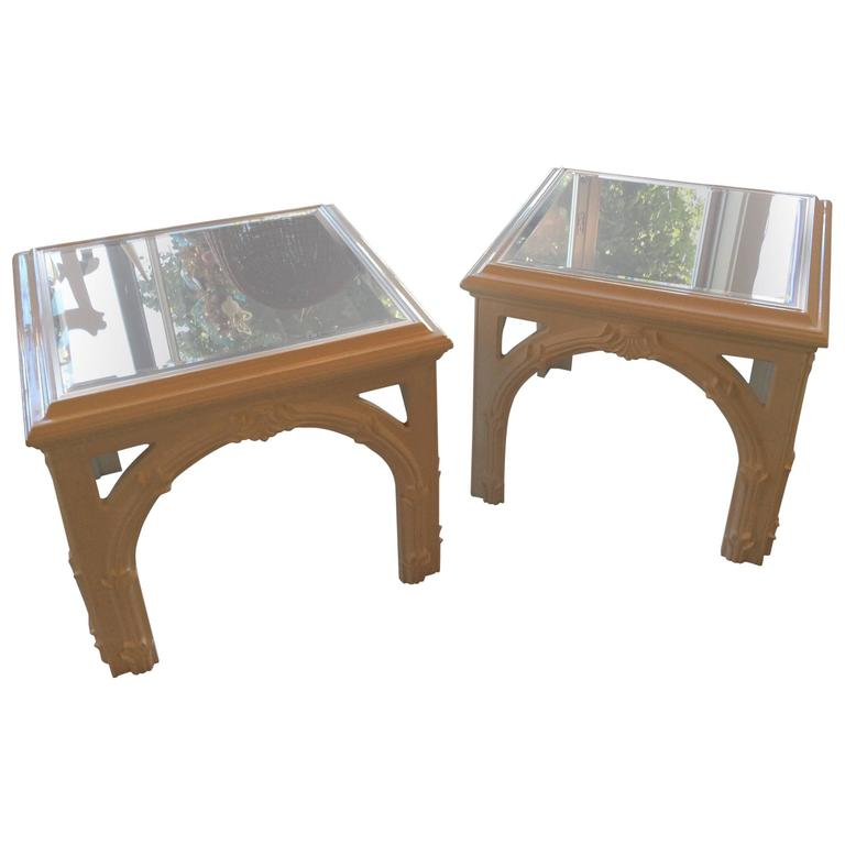 Pair Of Vintage Serge Roche Style End Side Tables New White Lacquer Palm  Beach