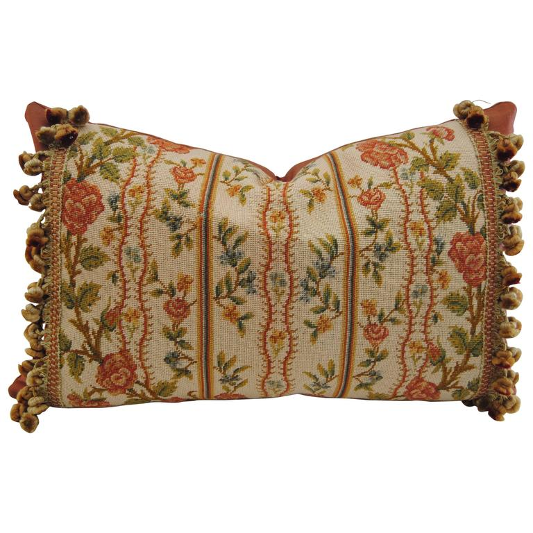 Antique French Needlepoint Pillow, Silk and Wool, Late 19th Century For Sale