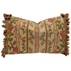 Antique French Needlepoint Pillow, Silk and Wool, Late 19th Century