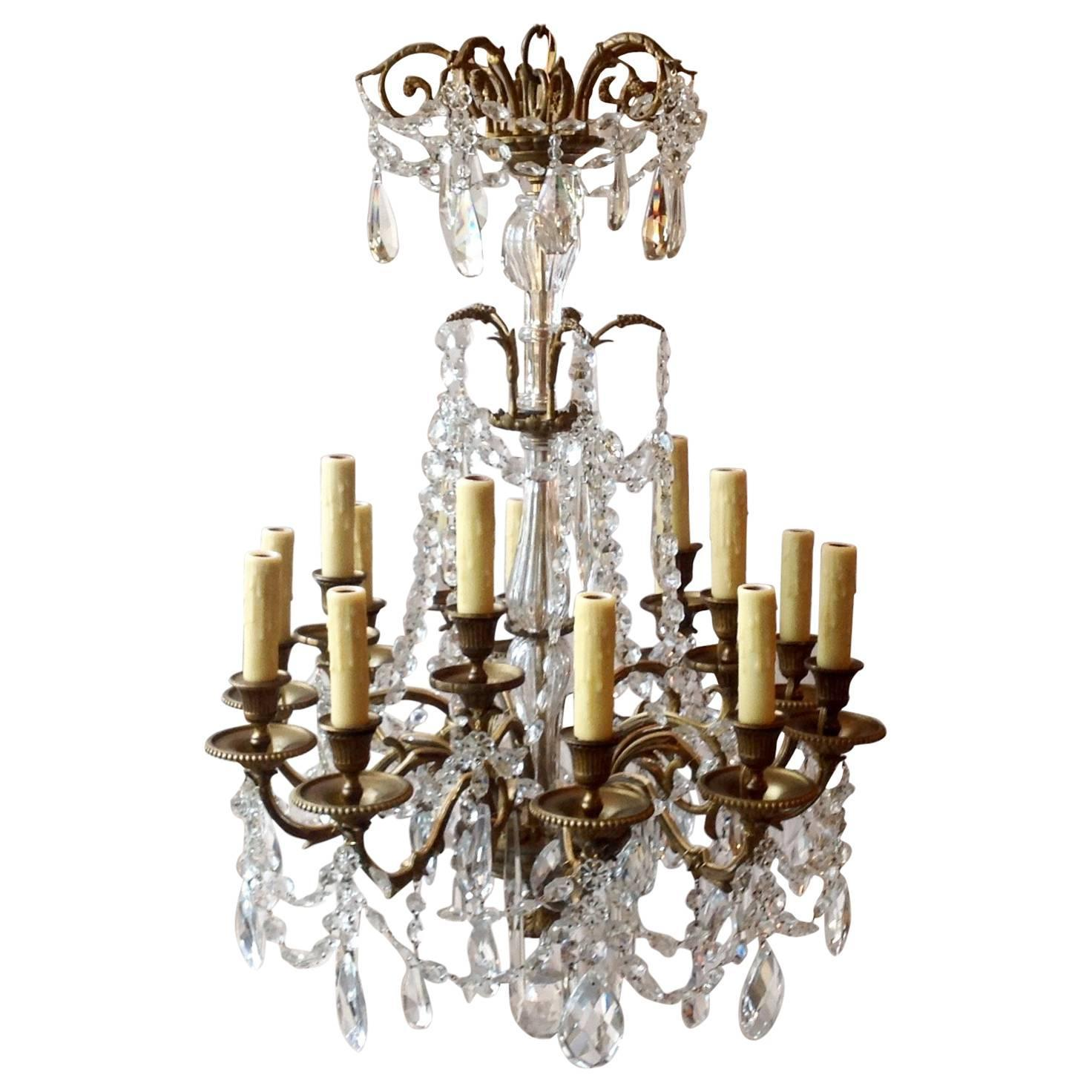 Antique European Bronze and Crystal Chandelier For Sale at