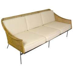 Mid-Century Modern Rattan and Wrought Iron Sofa