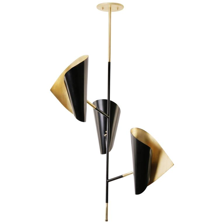 Cigale Pendant In Black Powder Coat And Solid Brass Organically Curved Shades
