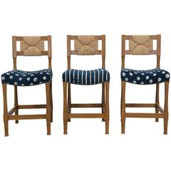 Hollywood at Home New York Athletic Club Bar Stools with Vintage Shibori Fabric