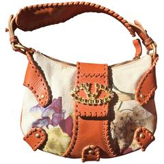 Chic Jeweled Valentino Floral Linen and Leather Handbag