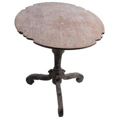 18th Century Swedish Period Baroque Tilt-Top Table with Original Paint