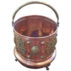 19th Century Hand-Hammered Copper and Brass Coal Bucket or Planter
