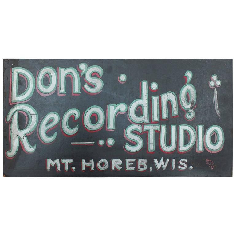 "1930s Hand-Painted Masonite Sign ""Recording Studio"""