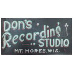 "1930s Hand-Painted Masonite Sign ""Recording Studio"""