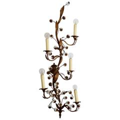 Regency Flower Brass and Glass Decorative Five-Arm Wall Sconce, Italy, 1960s