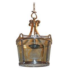Wonderful Vintage Caldwell Art Deco Silver Bronze Lantern Etched Glass Fixture