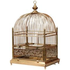 19th Century French Napoleon III Brass Birdcage with Painted Glass Sides